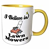 3dRose Dooni Designs I Believe In Designs - I Believe In Lawn Movers - 11oz Two-Tone Yellow Mug (mug_105269_8)