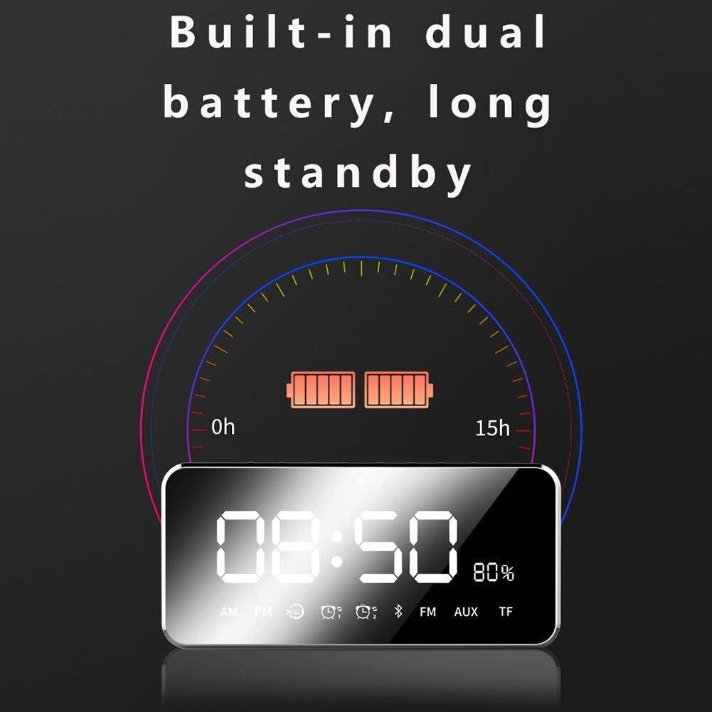 PXQOV Num/érique R/éveil Horloge Portable Lecteur Mp3 Miroir LED Haut-Parleur St/ér/éo Haut-Parleur Bluetooth avec FM Radio Temps R/éveil Luminosit/é R/églable Noir