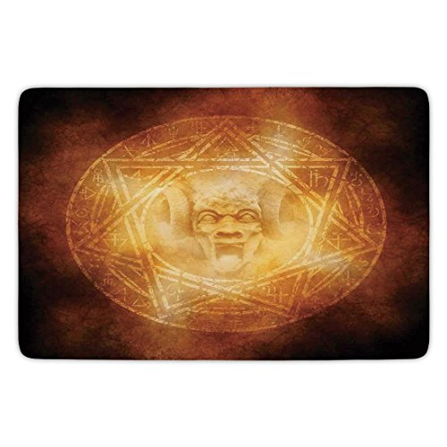 Bathroom Bath Rug Kitchen Floor Mat Carpet,Horror House Decor,Demon Trap Symbol Logo Ceremony Creepy Ritual Fantasy Paranormal Design,Orange,Flannel Microfiber Non-slip Soft Absorbent by iPrint