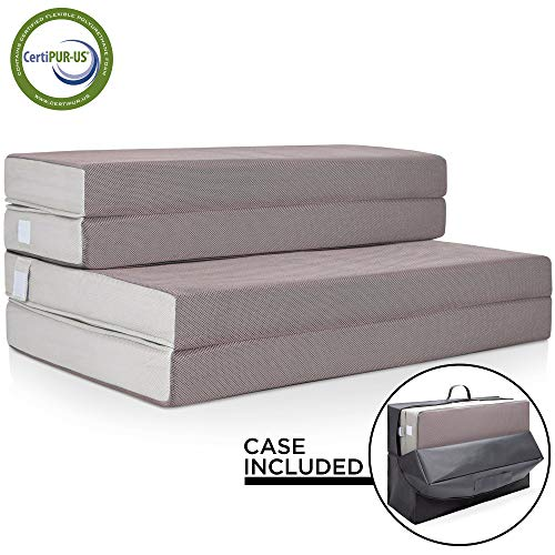 Best Choice Products 4in Thick Folding Portable Twin Mattress Topper w/ High-Density Foam, Washable Cover