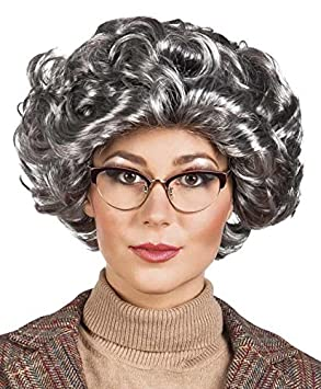 Grandma Granny Wig Curly Wig Fancy Dress Wig Grey  Amazon.co.uk ... 875d3a24b6e3