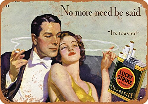 Wall-Color 9 x 12 METAL SIGN - 1933 Lucky Strike Cigarettes and Romance - Vintage Look Reproduction
