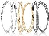 Hoop Earrings Set For Women Men Silver Gold Gunmetal Grey Tone Plate Round Fashion Jewelry 3 Pairs
