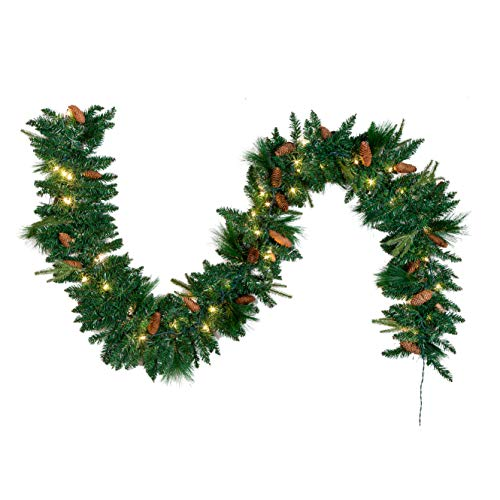 Joiedomi 9Ft Artificial Christmas Garland Prelit with 50 Lights & 27 Carolina Pine Cones for Christmas Decoration (Garland White Buy Christmas)