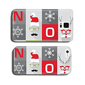 Christmas Retro Card - with Santa hats, masks - in vector cell phone cover case iPhone6 Plus