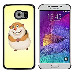 QCASE / Samsung Galaxy S6 EDGE SM-G925 / rodent hamster fluffy cartoon character art / Slim Black Plastic Case Cover Shell Armor