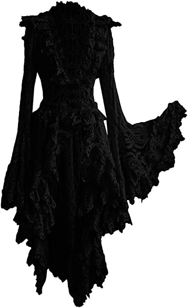 HALLOWEEN BLACK STITCHED UP CHOKER NECK LACE FANCY PARTY DRESS