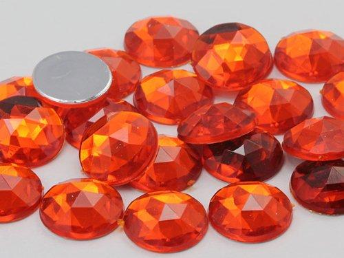 Allstarco 25mm Orange Hyacinth .HC Flat Back Round Acrylic Jewels Pro Grade - 20 Pieces - Jewel Orange