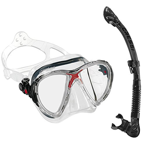 Cressi Big Eyes Evolution Mask and Alpha Ultra Dry Snorkel Combo, Clear/Red