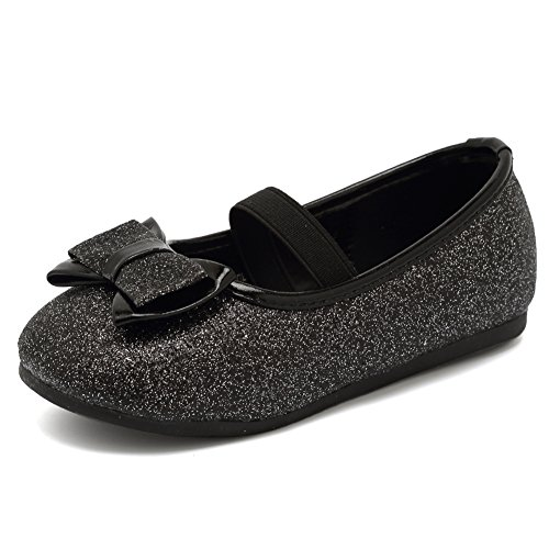 CIOR Toddler Girls Ballet Flats Shoes Ballerina Bowknot Jane Mary Wedding Party Princess Dress,VGZA3,Black Glitter,27]()