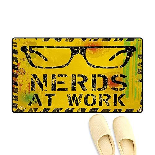 (Door-mat,Nerds at Work Grunge Fictional Sign Glasses Hazard Stripes Work Hard Theme,Bath Mats for Floors,Yellow Black Green,16