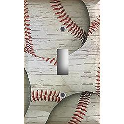 Weathered Baseball Decorative Light Switch Cover Wall Plate
