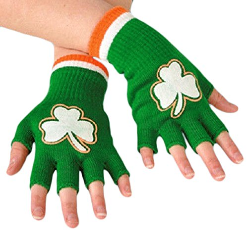 St. Patricks Day Fingerless Shamrock Gloves (Pair)