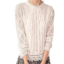 TUDUZ Women Elegant Solid Long Sleeve O Neck Lace Casual Jumper Tops Blouse T-Shirt