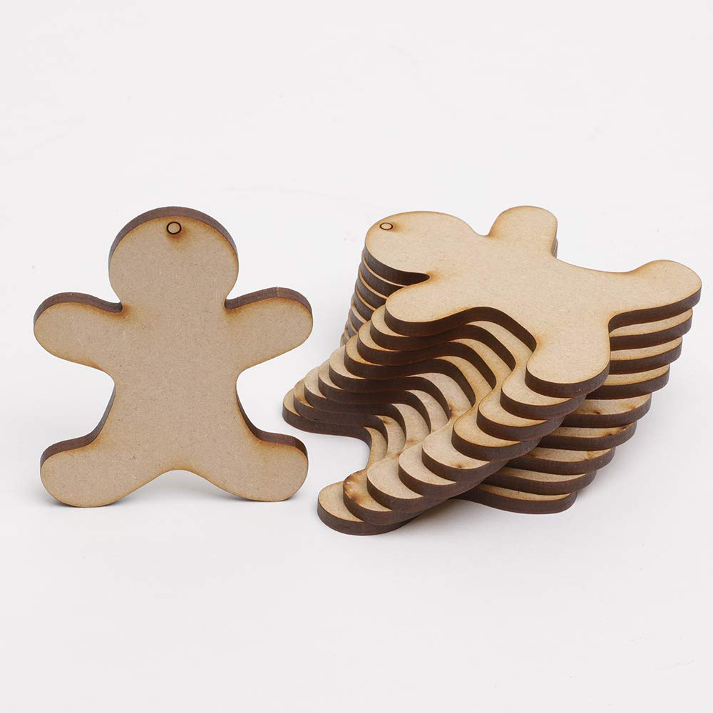 10 X Gingerbread Men Mdf Wooden Blanks For Christmas Craft Decorations Gift Tags