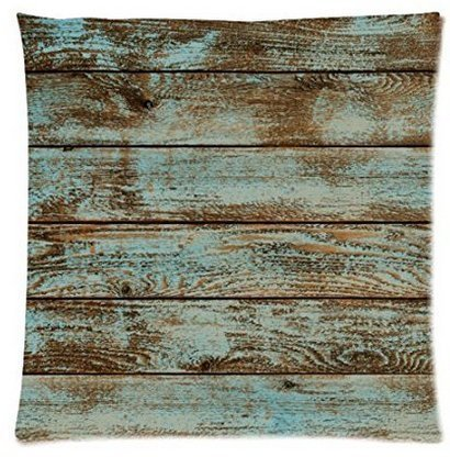 Leiacikl22 Rustic Old Barn Wood Square Decorative Zippered Polyester Pillow Case 18 x 18 Inches