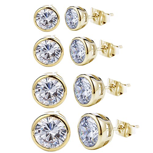 Round Crystal Stud Earrings 4-...