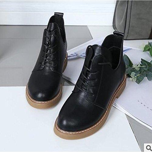 HSXZ Zapatos de Mujer Otoño Invierno PU Confort botas de tacón Chunky Round Toe botines/Botines for casual caqui negro Black