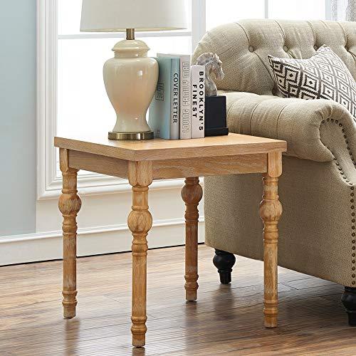 O&K Furniture Farmhouse End Table Turned Legs, Side Table Living Room, Bedroom, Natural Finish(1-Pcs)