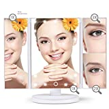 Wonder Worker Amaze Trifold LED Lighted Makeup Mirror with 21 Led Lights, Adjustable Cosmetic Vanity Mirror 1x, 2x, 3x Magnification