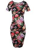 HELYO Women's Classy Casual Flower Print Stretch Slim Bodycon Pencil Business Dress 223(Black,S)