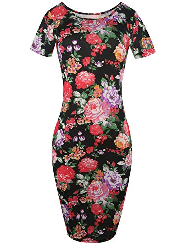 Women's Classy Casual Flower Print Stretch Slim Bodycon Pencil Business Dress 223(Black,S) Classy Office