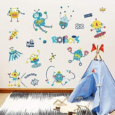 ufengke Robots Rocket Wall Stickers Auto Scientific Wall Decals Art Decor for Boys Kids Bedroom Nursery DIY