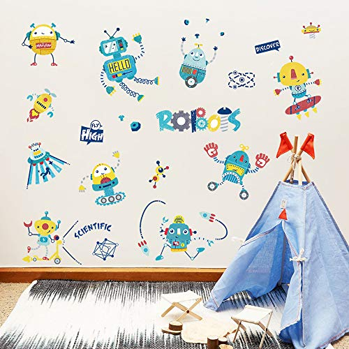 ufengke Robots Rocket Wall Stickers Auto Scientific Wall Decals Art Decor for Boys Kids Bedroom Nursery DIY