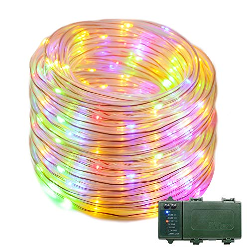 VMANOO Rope Lights 120 LED Battery Operated String Fairy Christmas Lighting Decor Timer for Outdoor, Indoor, Garden, Patio, Lawn, Holiday, Bedroom Wedding Xmas Decorations (Multi Color)