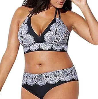Top De Bikini,TWBB Mujer Talla Grande Vendaje Sujetador Bikini con Acolchado Impreso Traje De