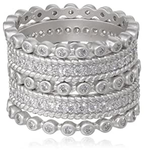 Freida Rothman Five Stack Mixed Silver Colored Stackable Ring, Size 8