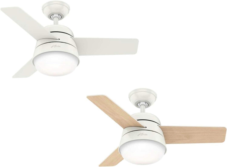 Hunter Finley - Ventilador de techo con luz, 91 cm, color blanco: Amazon.es: Hogar