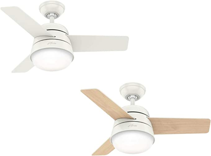 Hunter Finley - Ventilador de techo con luz, 91 cm, color blanco ...