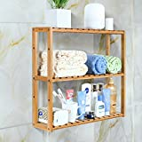Kyпить HOMFA Bamboo Bathroom Shelf 3-Tier Multifunctional Adjustable Layer Rack Wall Mounted Utility Storage Organizer Bathroom Kitchen Living Room Holder на Amazon.com