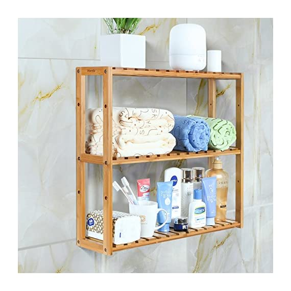 HOMFA Bamboo Bathroom Shelf 3-Tier Multifunctional Adjustable Layer Rack Wall Mounted Utility Storage Organizer Towel Shelves Kitchen Living Room Holder Natural Color - ✿GOOD MATERIAL: Made of 100% natural bamboo Eco-friendly material and some mounting accessories, this storage rack is stable, durable, well made and Eco-friendly. ✿SAFE & EFFICIENT DESIGN: With its smooth surface finish, countersink screws and rounded corners, this shelf will not cause harm to your belongings or your children. And this bamboo rack can be wall mounted or placed on the ground, very convenient and useful. ✿MULTIFUNCTIONAL USE: The bamboo shelf is suitable to be placed in the hall, living room, bedroom, balcony or on the kitchen, bathroom wall. With the 3 tiers bamboo storage shelf you can have enough space to place many your stuffs, such as toiletries, towels, sundries, shoes, books, plants, spice and small appliances, help you organize your home comfortable and tidy. - shelves-cabinets, bathroom-fixtures-hardware, bathroom - 51DapSApSwL. SS570  -