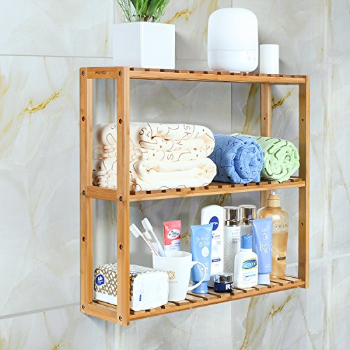 HOMFA Bamboo Bathroom Shelf 3-Tier Multifunctional Adjustable Layer Rack Wall Mounted Utility Storage Organizer Bathroom Kitchen Living Room (Bathroom Wall Storage)