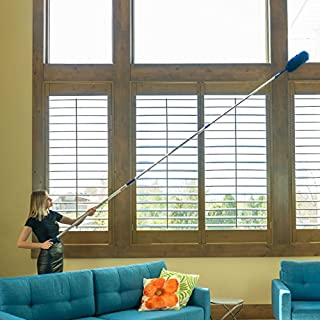 U.S. Duster Company Triple Action High Reach Dusting Kit | Webster Cobweb Ceiling Fan Duster with 13 to 20 Foot Extension Telescope Pole | Lightweight High Quality Microfiber Cleaning Set
