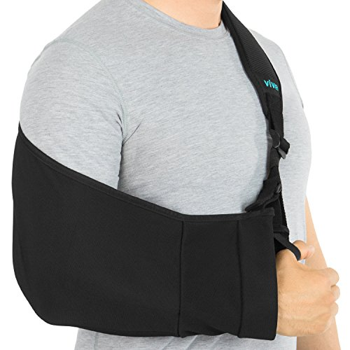 Hemi Sling Arm (Vive Arm Sling - Medical Support Strap for Broken, Fractured Bones - Adjustable Shoulder, Rotator Cuff Full Soft Immobilizer - For Left, Right Arm, Men, Women, Subluxation, Dislocation, Sprain, Strain)