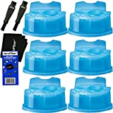 Braun Series 7 Cleaning Base - Braun Clean & Renew Refill Cartridges, Replacement Cleaner, Cleaning Solution (6 pack) for Series 3, Series 5, Series 7 & Series 9 + Double Ended Shaver Brush + HeroFiber Ultra Gentle Cleaning Cloth