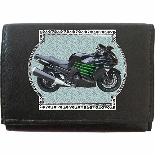 KAWASAKI ZZR 1400 Schwarz Grün Klassek Leder Schlüsseletui Schlüsselleiste mit Haken Motorrad Bike Zubehör Geschenk mit Metall Box NICHT OFFIZIELLE Kawasaki Produkte j8jV2m7