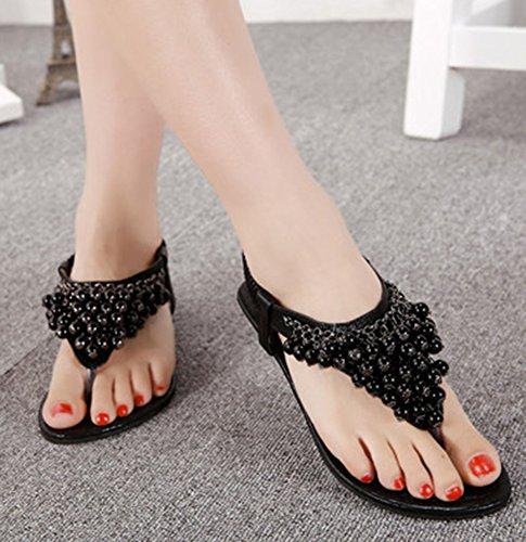 Femme Flops Talon Mode Bas Sandales Noir Aisun 6q7dq