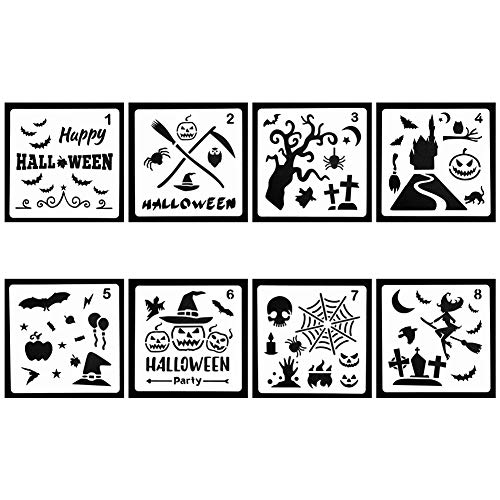 URlighting Halloween Decor Stencils (8 Pack), Pumpkin Pattern, Bat, Old Castle, Spider Web, Witch, Skeleton Plastic Templates for Halloween Decoration, DIY Craft Drawing Painting -