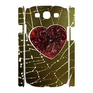 3D Samsung Galaxy S3 Case, Love Heart on the Cobweb Case for Samsung Galaxy S3 {White}