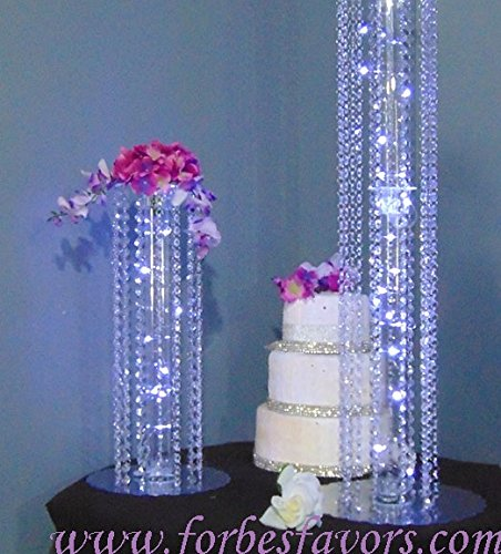 12 Inch Timeless Acrylic Crystal Dangle Event & Wedding Centerpiece With Stand & Crystals