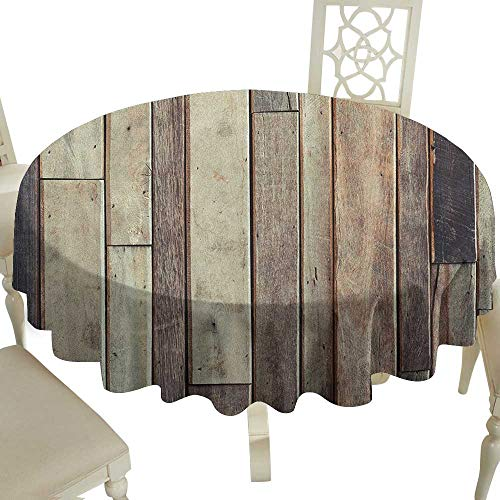 striped round tablecloth 70 Inch Wooden,Antique Planks Flooring Wall Picture American Style Western Rustic Panel Graphic Print Brown Suitable for traveling,outdoors,family,restaurant,coffee shop More