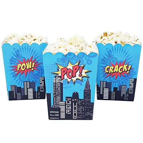 - Mini Superhero Theme Birthday Party Popcorn Favor Boxes (10 Count) - Red Yellow & Blue Super Hero Colors