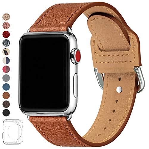 LOVLEOP Bands Compatible with Apple Watch Band 38mm 40mm 44mm 42mm, Top Grain Leather Strap for iWatch Series 4 Series 3 Series 2 Series 1 (Brown + Silver Connector, 38mm 40mm)
