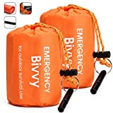 "TOBWLOF 2PCS Emergency Sleeping Bags Lightweight Life Bivy Sacks with 1 Whistle, Orange, 36x84"" Mylar Emergency Bivy Survival Rescue Blanket, Waterproof Windproof Outdoor Thermal Sleeping Bags"