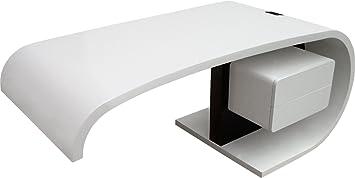 Bureau design virgule laqué blanc et noir 2 tiroirs: amazon.fr
