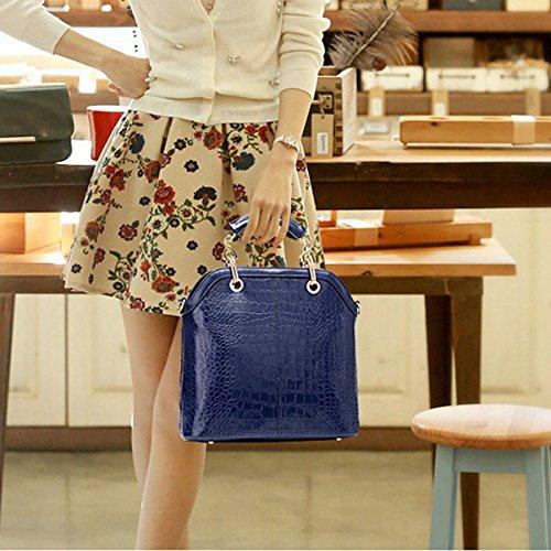 Mujeres Moda Cocodrilo 3 Unids Conjuntos Bolso De Hombro Satchel Bolso Crossbody Monedero Multicolor Blue